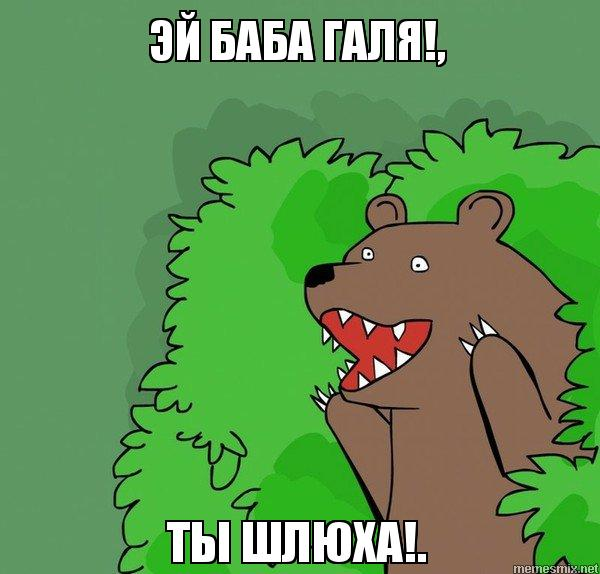 Демотиватор шлюха медведь кусты