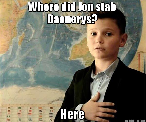 Where did Jon stab Daenerys? Here