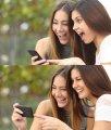 Девушки смеются, когда видят