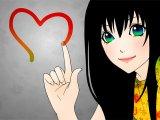 мем Аниме девушка с черными волосами и зелеными глазами
