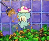 мем Сквидвард купается в деньгах