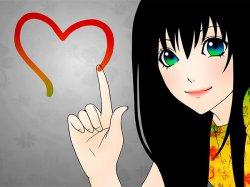 Аниме девушка с черными волосами и зелеными глазами