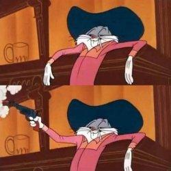 Багз Банни стреляет из пистолета